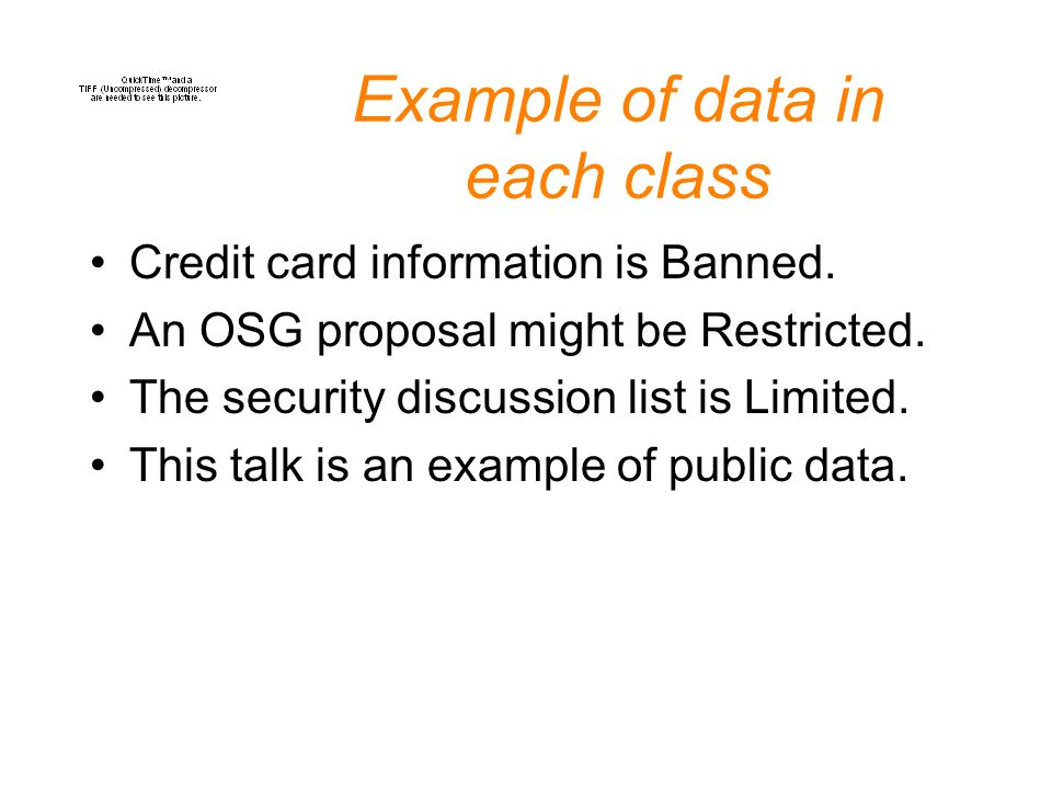 Example of data in each class Credit card information is Banned.
