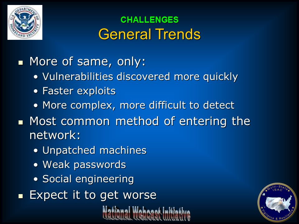 More of same, only: More of same, only: Vulnerabilities discovered more quicklyVulnerabilities discovered more quickly Faster exploitsFaster exploits More complex, more difficult to detectMore complex, more difficult to detect Most common method of entering the network: Most common method of entering the network: Unpatched machinesUnpatched machines Weak passwordsWeak passwords Social engineeringSocial engineering Expect it to get worse Expect it to get worse CHALLENGES General Trends
