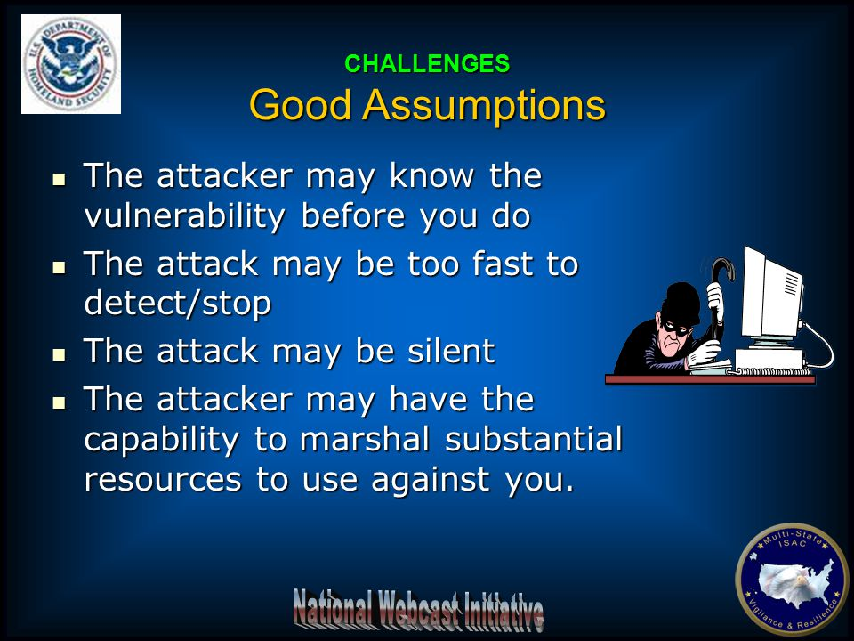 The attacker may know the vulnerability before you do The attacker may know the vulnerability before you do The attack may be too fast to detect/stop The attack may be too fast to detect/stop The attack may be silent The attack may be silent The attacker may have the capability to marshal substantial resources to use against you.