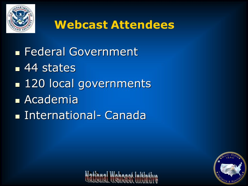 Federal Government Federal Government 44 states 44 states 120 local governments 120 local governments Academia Academia International- Canada International- Canada Webcast Attendees