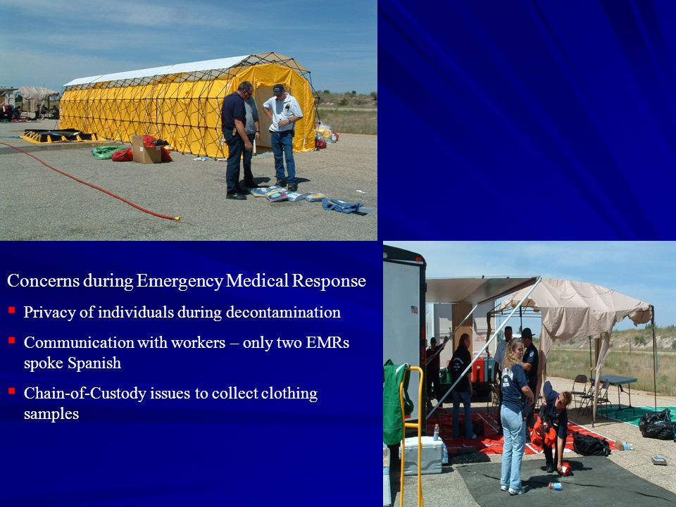 Concerns during Emergency Medical Response  Privacy of individuals during decontamination  Communication with workers – only two EMRs spoke Spanish  Chain-of-Custody issues to collect clothing samples