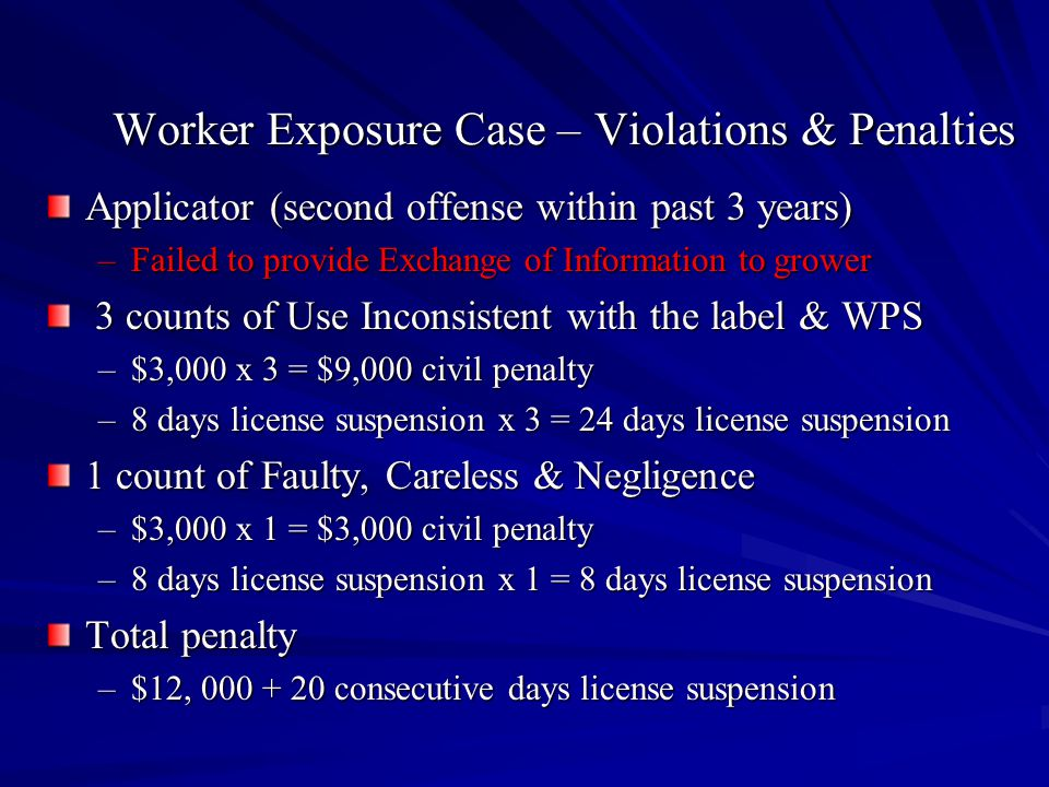 Worker Exposure Case – Violations & Penalties Applicator (second offense within past 3 years) –Failed to provide Exchange of Information to grower 3 counts of Use Inconsistent with the label & WPS 3 counts of Use Inconsistent with the label & WPS –$3,000 x 3 = $9,000 civil penalty –8 days license suspension x 3 = 24 days license suspension 1 count of Faulty, Careless & Negligence –$3,000 x 1 = $3,000 civil penalty –8 days license suspension x 1 = 8 days license suspension Total penalty –$12, 000 + 20 consecutive days license suspension