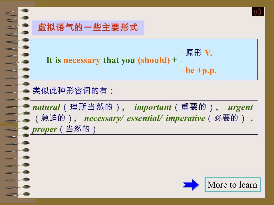 虚拟语气的一些主要形式 insist 原形 V. 主语 + + that 主语 (should) + suggest be+p.p. 常用于此句型的动词如下: 建议 要求 坚持 命令 suggest, move, propose, recommend ask, demand, require, re