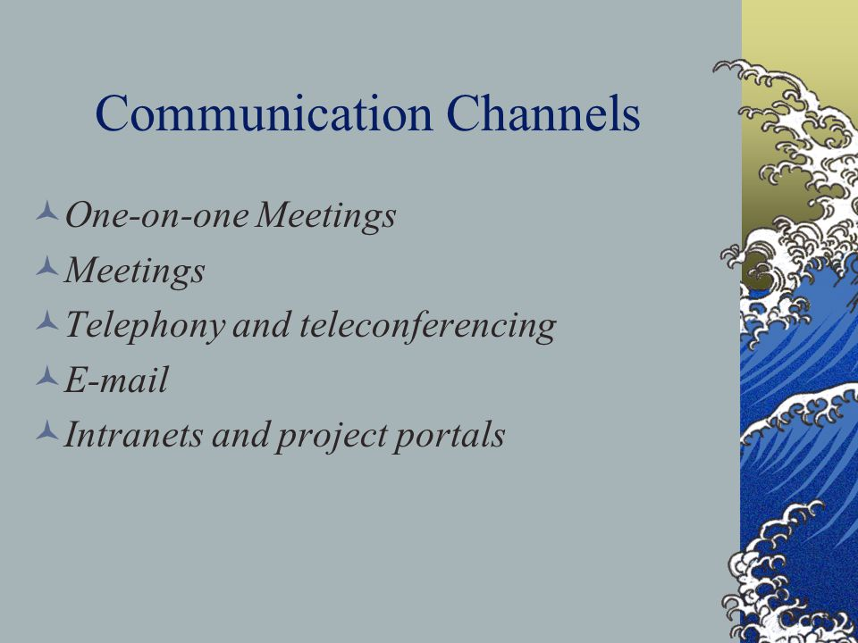 Communication Channels One-on-one Meetings Meetings Telephony and teleconferencing E-mail Intranets and project portals
