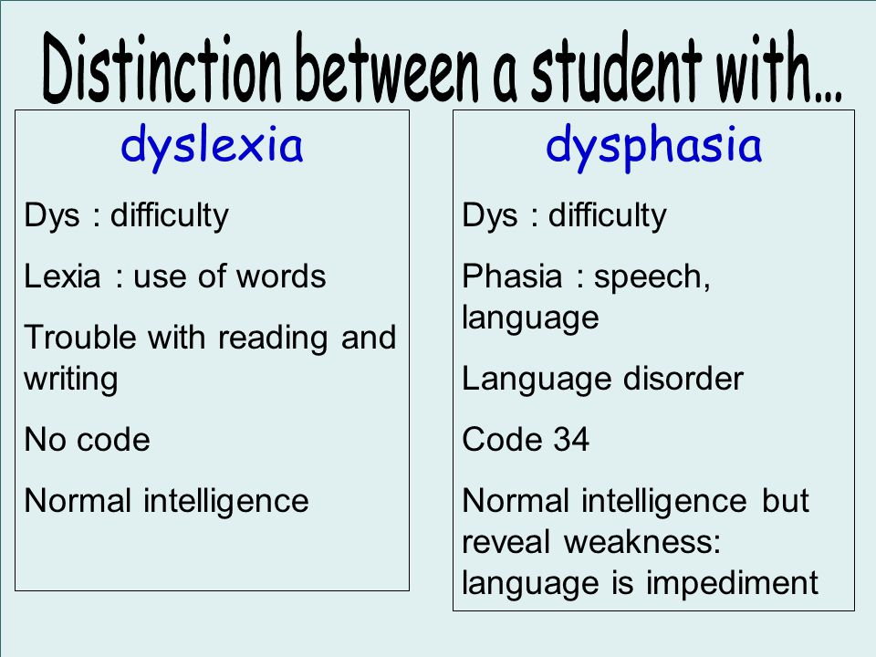 dyslexia Dys : difficulty Lexia : use of words Trouble with reading and writing No code Normal intelligence dysphasia Dys : difficulty Phasia : speech, language Language disorder Code 34 Normal intelligence but reveal weakness: language is impediment