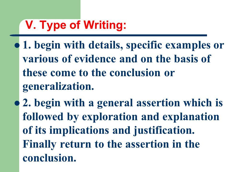 V. Type of Writing: 1.