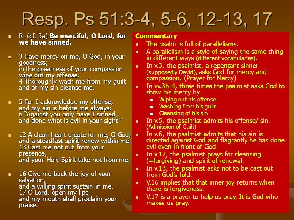 Resp.Ps 51:3-4, 5-6, 12-13, 17 R. (cf. 3a) Be merciful, O Lord, for we have sinned.