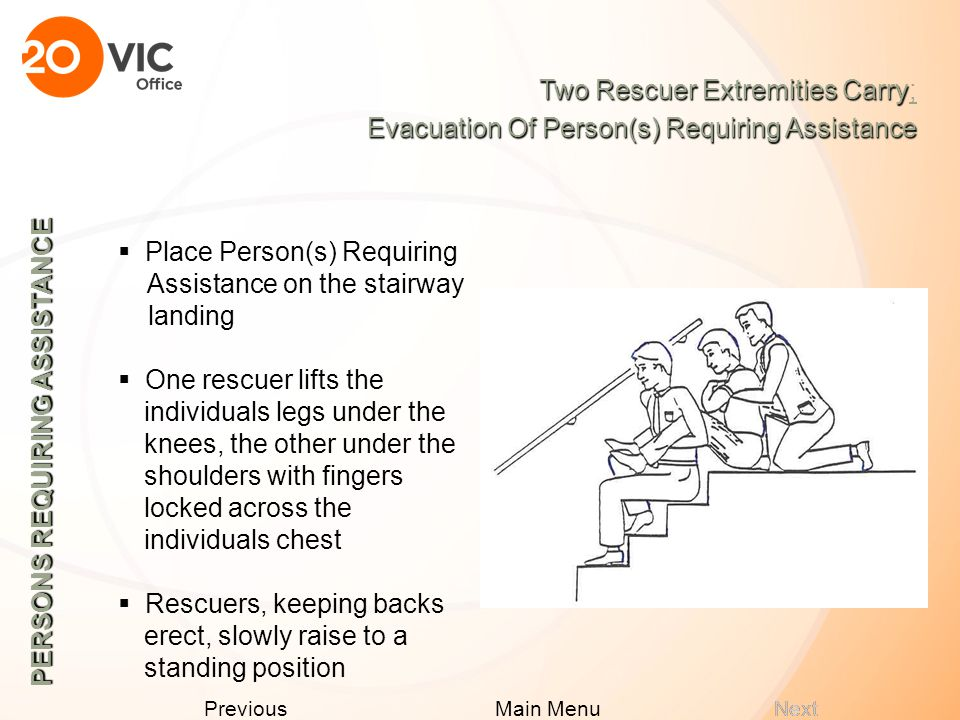Next Previous Main Menu PERSONS REQUIRING ASSISTANCE  The rescuers then lift using their legs and carefully step forward Two Rescuer Seat Carry Two Rescuer Seat Carry; Evacuation Of Person(s) Requiring Assistance