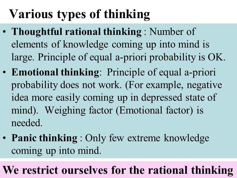 Various types of thinking Thoughtful rational thinking : Number of elements of knowledge coming up into mind is large. Principle of equal a-priori pro