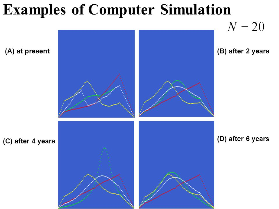 Examples of Computer Simulation (A) at present(B) after 2 years (C) after 4 years (D) after 6 years