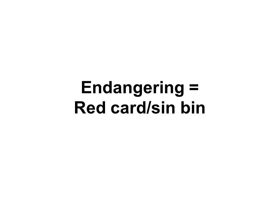 Endangering = Red card/sin bin