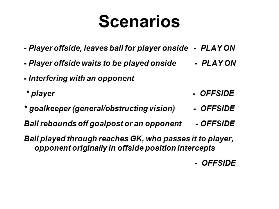 Scenarios - Player offside, leaves ball for player onside - PLAY ON - Player offside waits to be played onside - PLAY ON - Interfering with an opponent * player - OFFSIDE * goalkeeper (general/obstructing vision) - OFFSIDE Ball rebounds off goalpost or an opponent - OFFSIDE Ball played through reaches GK, who passes it to player, opponent originally in offside position intercepts - OFFSIDE