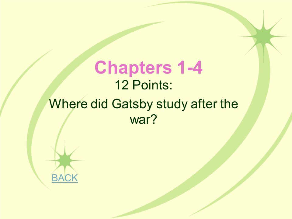 Chapters 1-4 12 Points: Where did Gatsby study after the war? BACK
