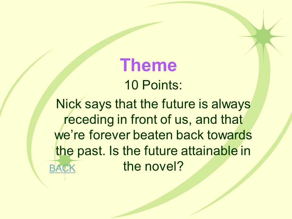 Theme 10 Points: Nick says that the future is always receding in front of us, and that we're forever beaten back towards the past. Is the future attai