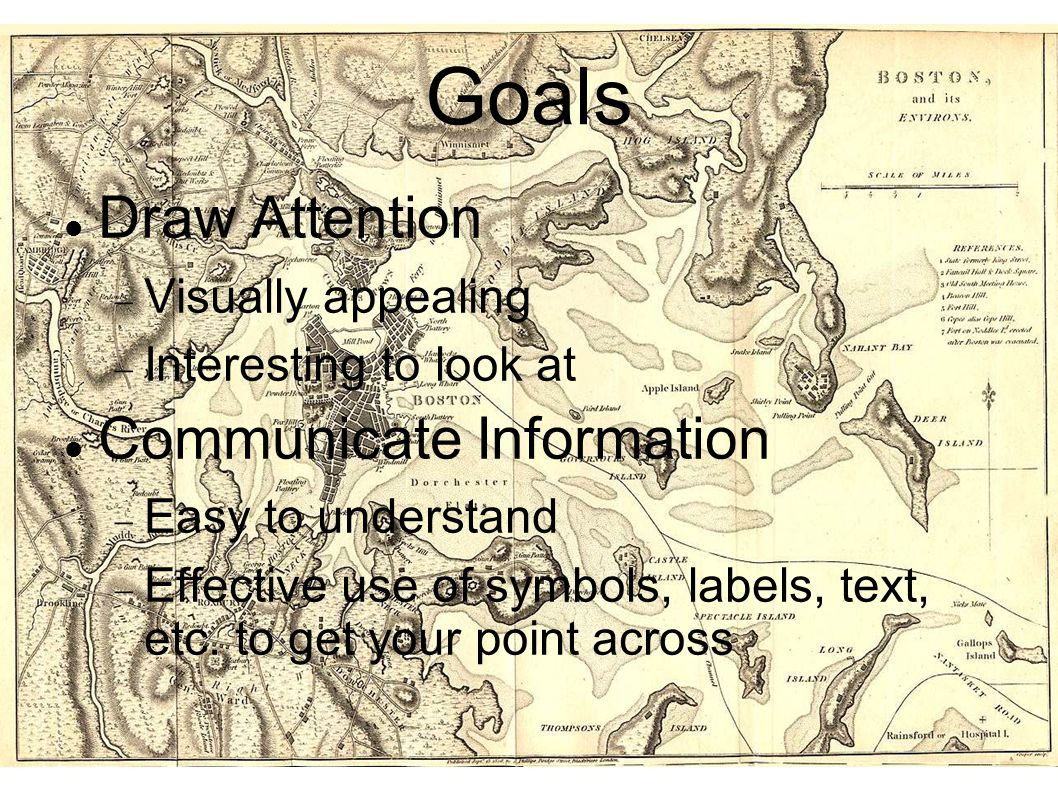Goals Draw Attention  Visually appealing  Interesting to look at Communicate Information  Easy to understand  Effective use of symbols, labels, te