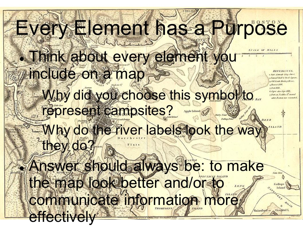 Every Element has a Purpose Think about every element you include on a map  Why did you choose this symbol to represent campsites?  Why do the river