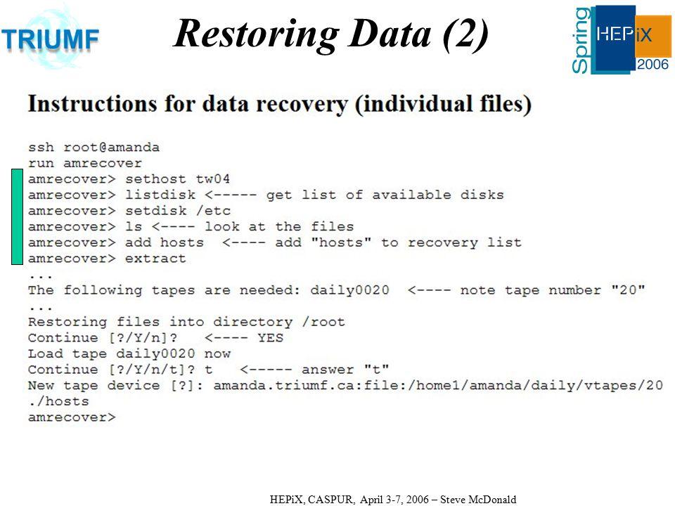 HEPiX, CASPUR, April 3-7, 2006 – Steve McDonald Restoring Data (2)