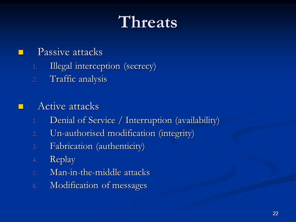 22 Threats Passive attacks Passive attacks 1. Illegal interception (secrecy) 2. Traffic analysis Active attacks Active attacks 1. Denial of Service /