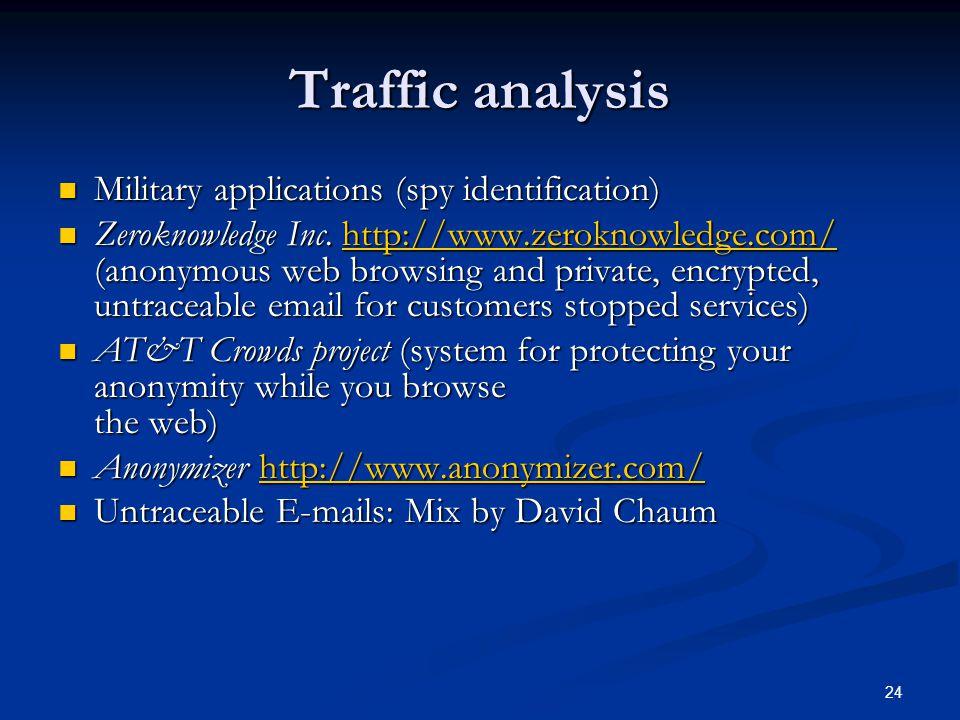 24 Traffic analysis Military applications (spy identification) Military applications (spy identification) Zeroknowledge Inc. http://www.zeroknowledge.