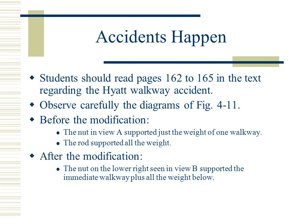 Accidents Happen  Students should read pages 162 to 165 in the text regarding the Hyatt walkway accident.