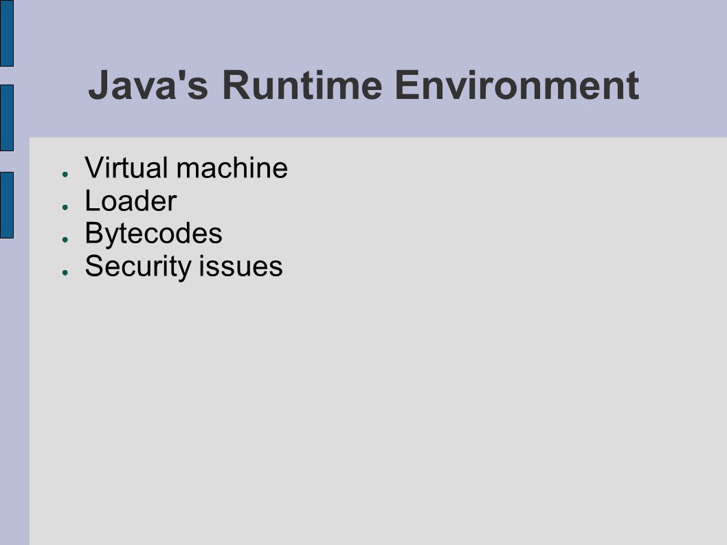 Java s Runtime Environment ● Virtual machine ● Loader ● Bytecodes ● Security issues