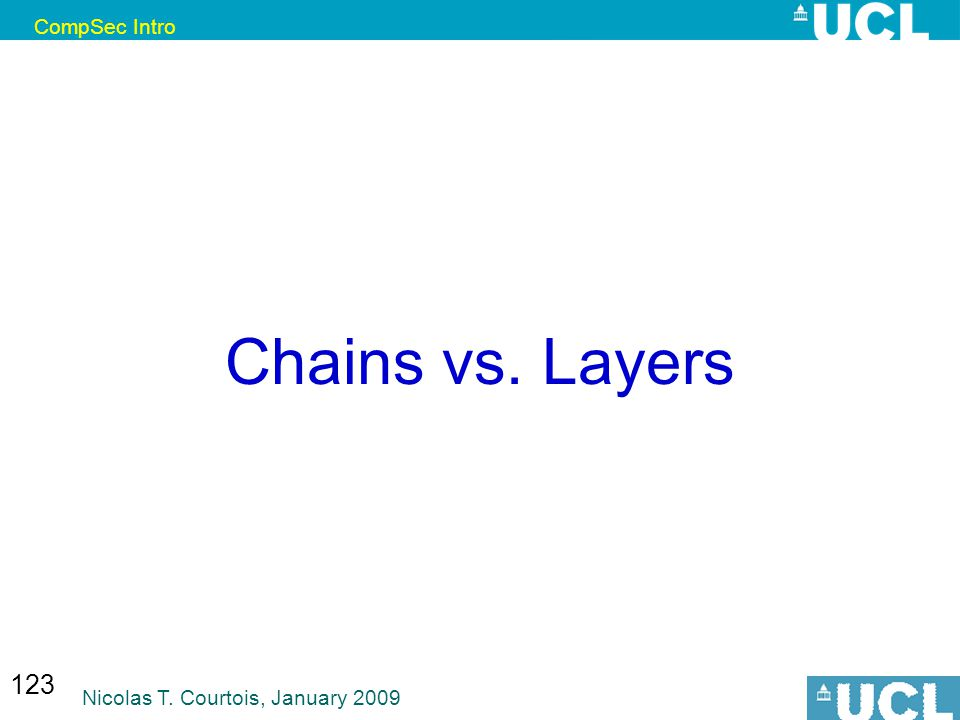 CompSec Intro Nicolas T. Courtois, January 2009 123 Chains vs. Layers