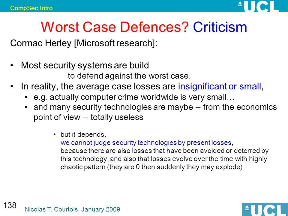 CompSec Intro Nicolas T. Courtois, January 2009 138 Worst Case Defences.