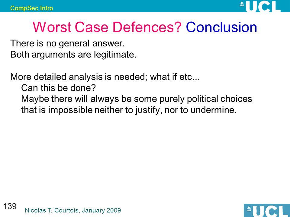 CompSec Intro Nicolas T. Courtois, January 2009 139 Worst Case Defences.