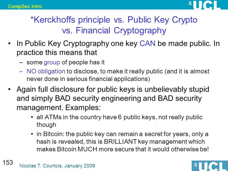 CompSec Intro Nicolas T. Courtois, January 2009 153 *Kerckhoffs principle vs.