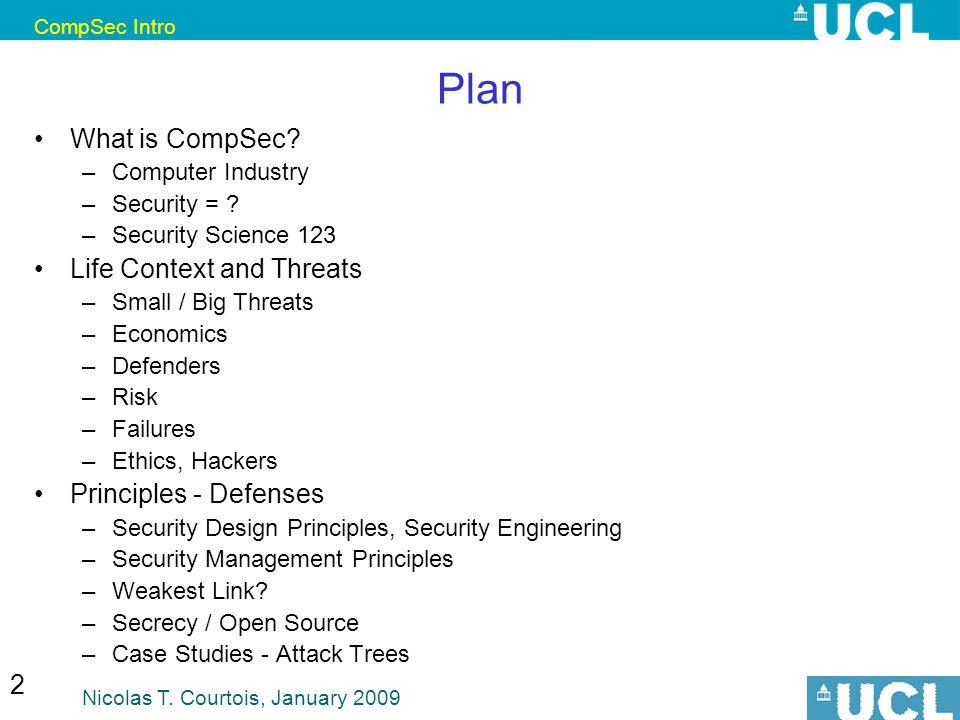 CompSec Intro Nicolas T. Courtois, January 2009 2 Plan What is CompSec.