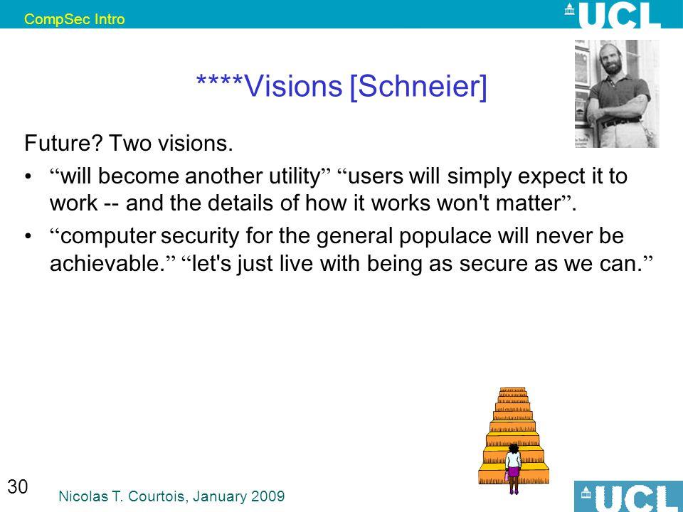 CompSec Intro Nicolas T. Courtois, January 2009 30 ****Visions [Schneier] Future.