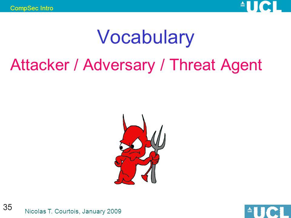 CompSec Intro Nicolas T. Courtois, January 2009 35 Vocabulary Attacker / Adversary / Threat Agent