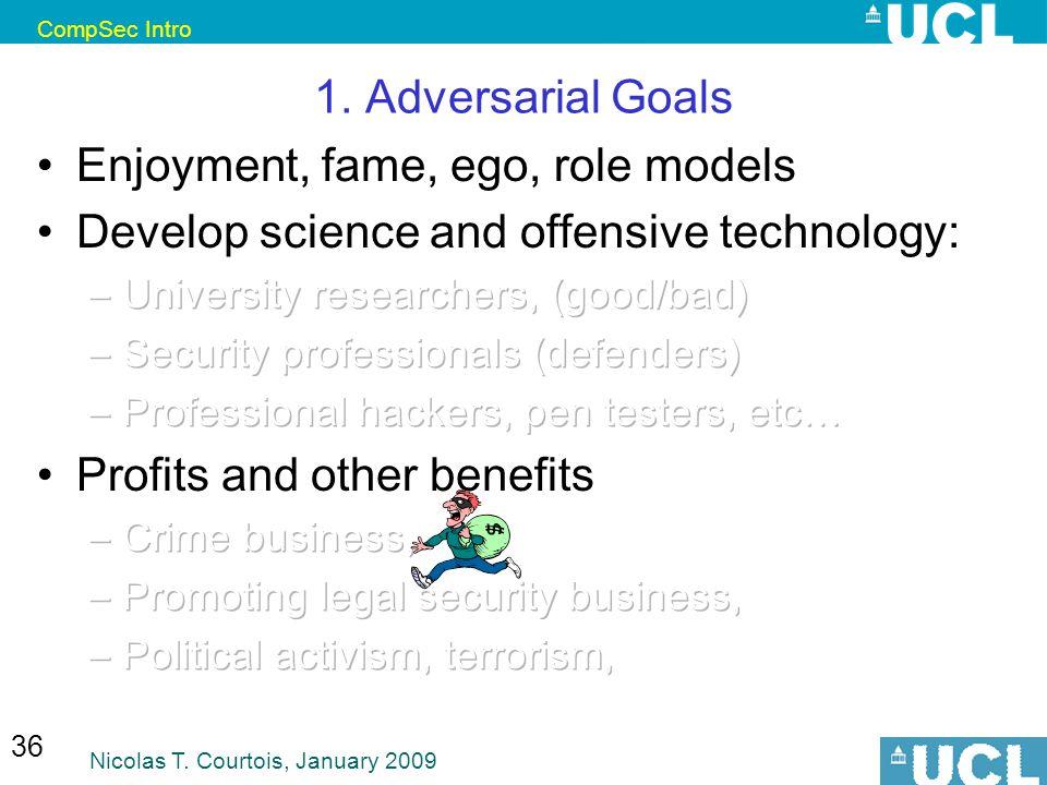 CompSec Intro Nicolas T. Courtois, January 2009 36 1. Adversarial Goals