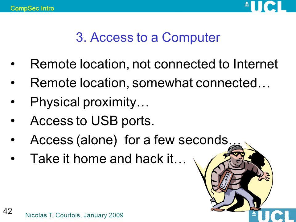 CompSec Intro Nicolas T. Courtois, January 2009 42 3.