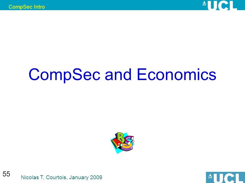 CompSec Intro Nicolas T. Courtois, January 2009 55 CompSec and Economics