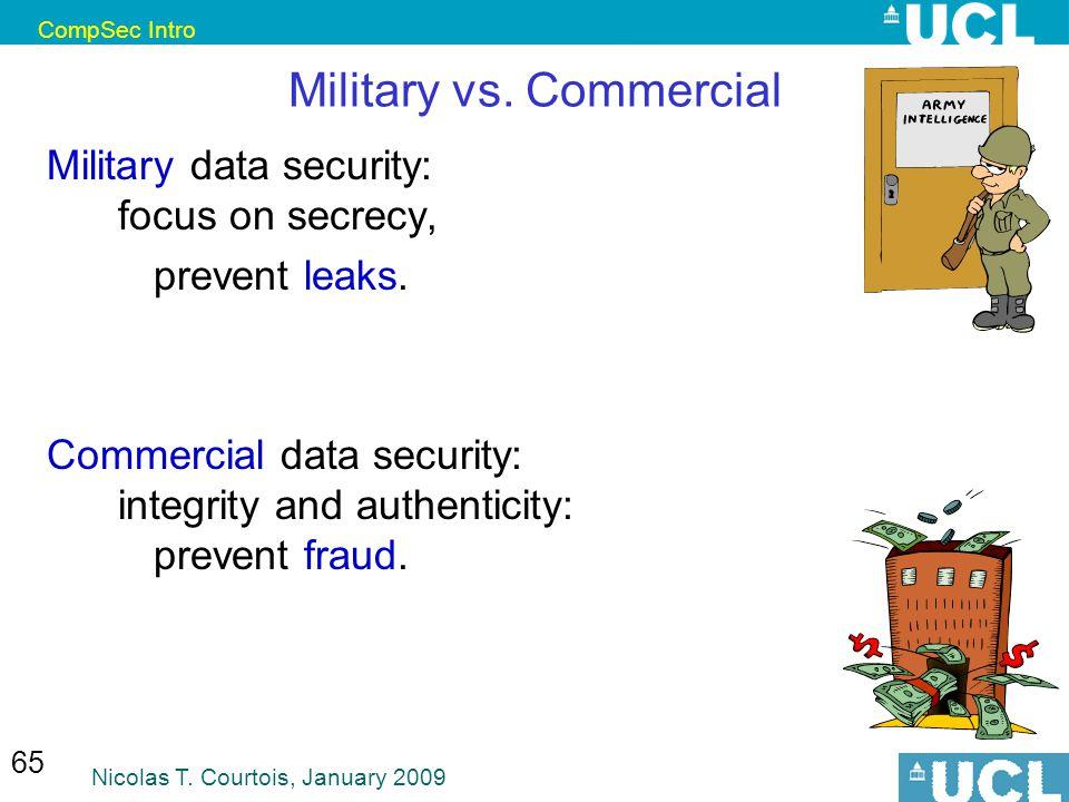 CompSec Intro Nicolas T. Courtois, January 2009 65 Military vs.