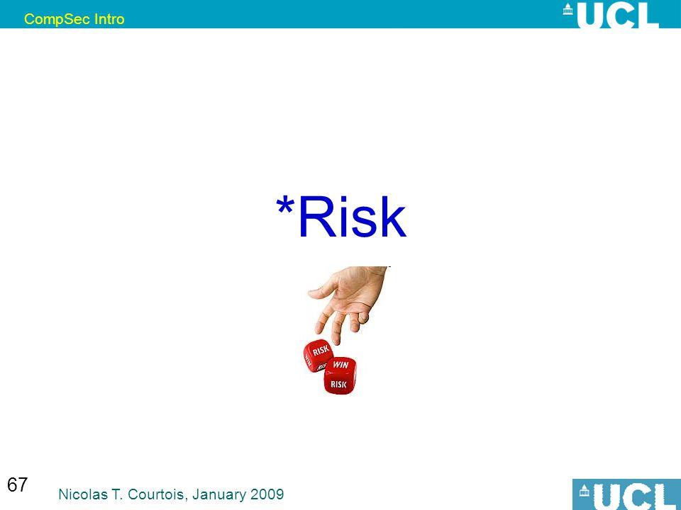 CompSec Intro Nicolas T. Courtois, January 2009 67 *Risk