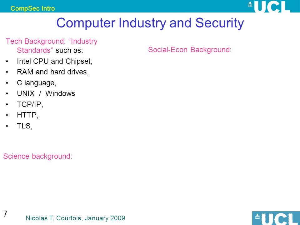 CompSec Intro Nicolas T. Courtois, January 2009 18 *Security on One Slide