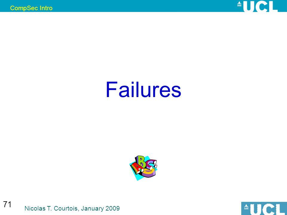 CompSec Intro Nicolas T. Courtois, January 2009 71 Failures