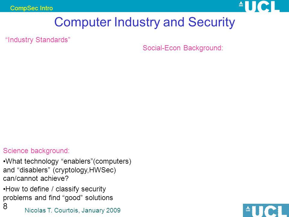 CompSec Intro Nicolas T. Courtois, January 2009 129 **Weakest Link vs. Sum of Efforts