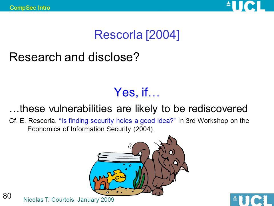 CompSec Intro Nicolas T. Courtois, January 2009 80 Rescorla [2004] Research and disclose.