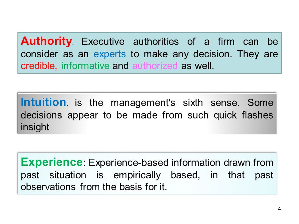 Authority : Executive authorities of a firm can be consider as an experts to make any decision. They are credible, informative and authorized as well.