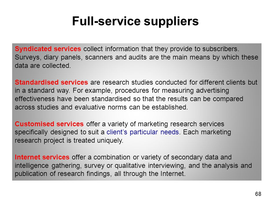 Full-service suppliers Syndicated services collect information that they provide to subscribers. Surveys, diary panels, scanners and audits are the ma