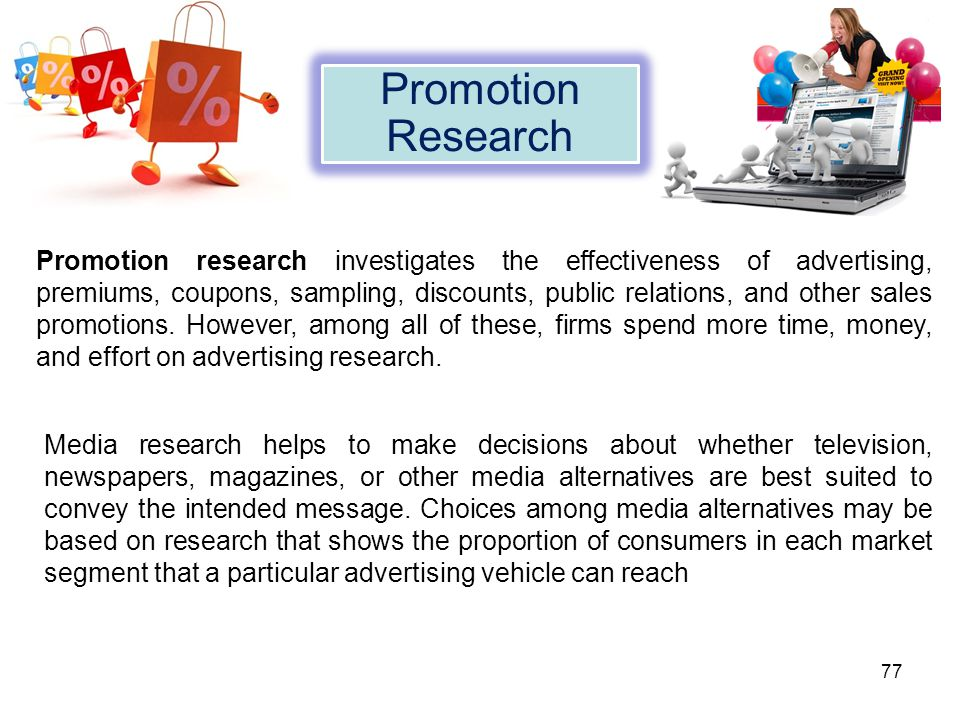 Promotion research investigates the effectiveness of advertising, premiums, coupons, sampling, discounts, public relations, and other sales promotions