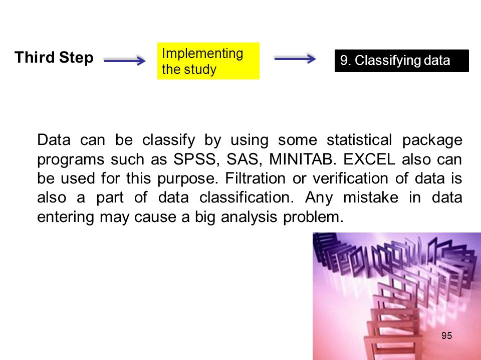 Third Step Implementing the study 9. Classifying data Data can be classify by using some statistical package programs such as SPSS, SAS, MINITAB. EXCE