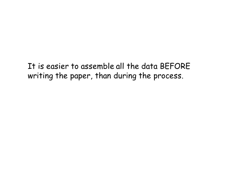 It is easier to assemble all the data BEFORE writing the paper, than during the process.