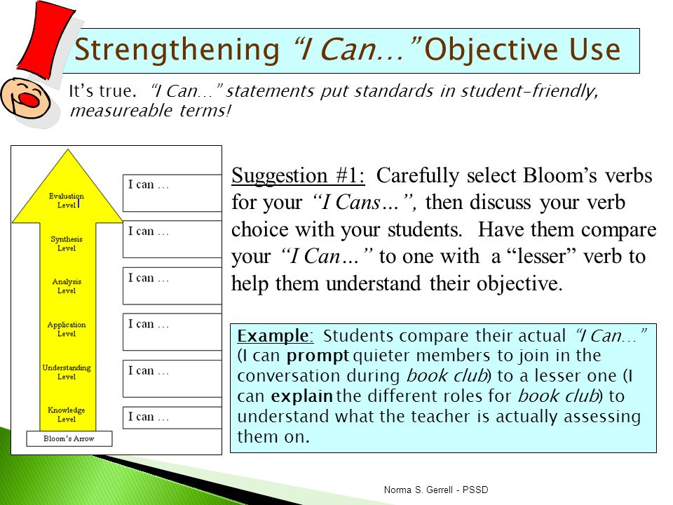 Strengthening I Can… Objective Use Suggestion #4: Teach students to use a quick-check formative tool that asks them to self-assess their current ability to complete the I Can… .