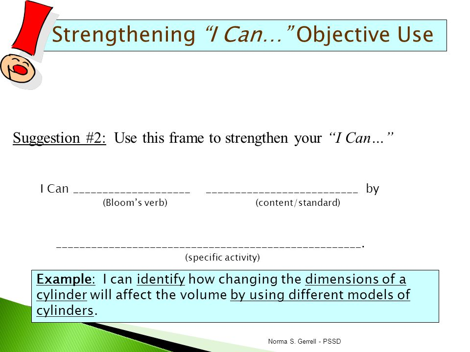 Strengthening I Can… Objective Use academic vocabulary Suggestion #3: Highlight any academic vocabulary in your big I Can… and require students to use that vocabulary when you're talking to them about their progress towards your lesson objectives.