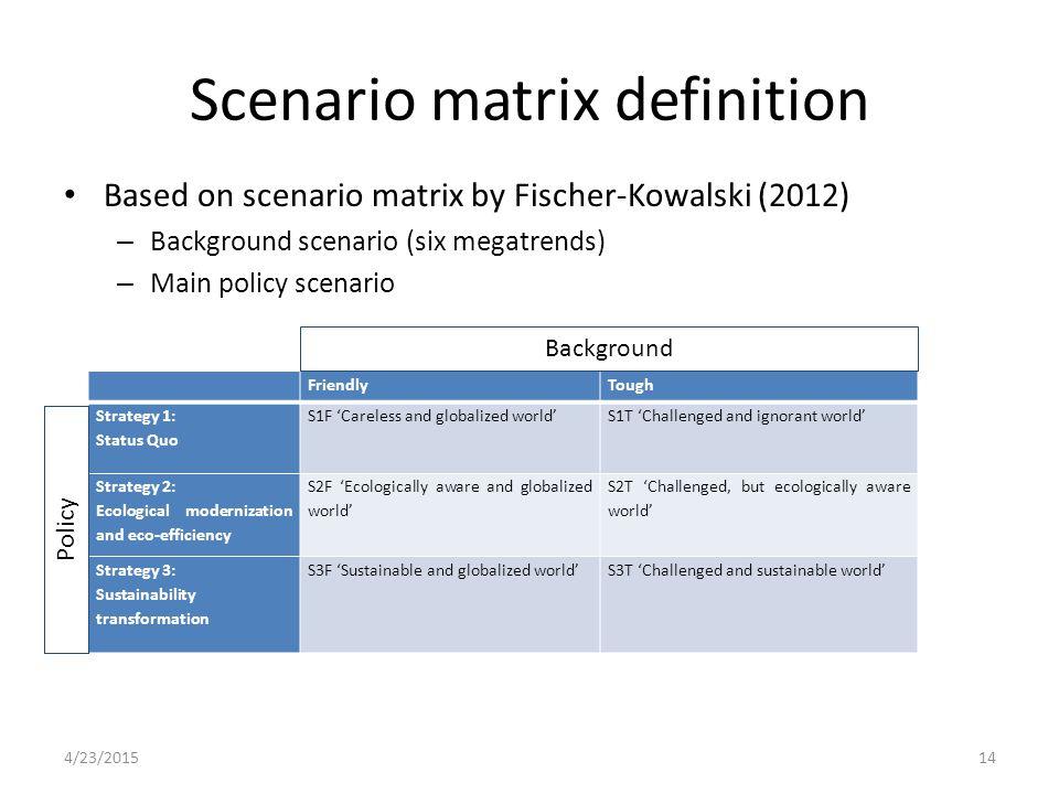 Scenario matrix definition Based on scenario matrix by Fischer-Kowalski (2012) – Background scenario (six megatrends) – Main policy scenario FriendlyT