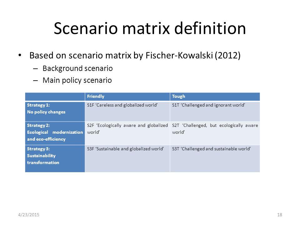 Scenario matrix definition Based on scenario matrix by Fischer-Kowalski (2012) – Background scenario – Main policy scenario FriendlyTough Strategy 1: